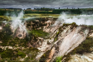 Geothermal steam rises up from Craters of the Moon