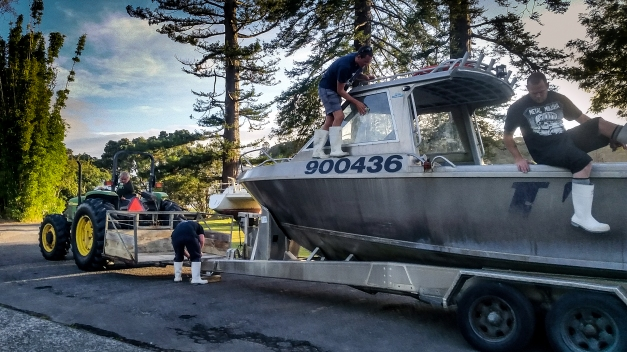 Preparing the boat for launch in the morning