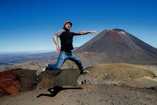Trying to touch the peak of the volcano
