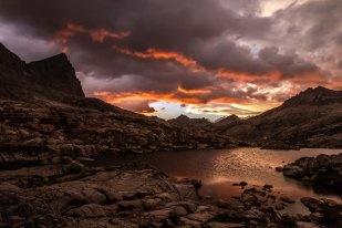 Sunset at camp below Seven Gables